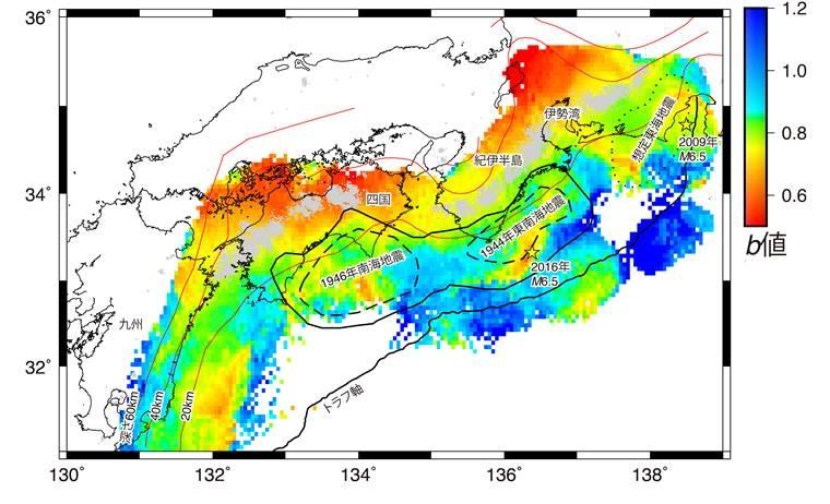 南海トラフ沿いのb値の空間分布 地図